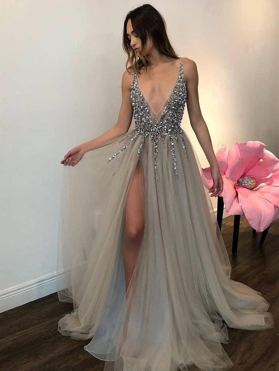 Nude V-Neck Long Beaded Prom Dress by Shail K