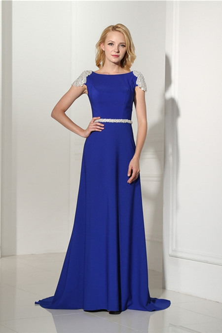 bateau neckline evening dress